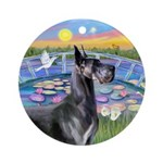Blue Great Dane & Lilies (JF) Ornament (Round)