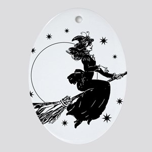 Old Fashioned Witch Ornament (Oval)