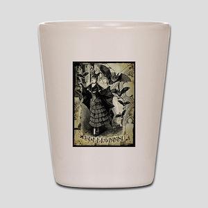 Victorian Halloween Bat Collage Shot Glass