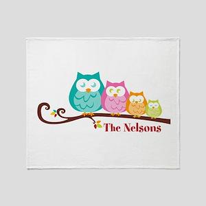 Custom owl family name Throw Blanket