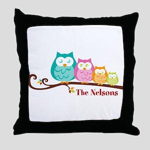 Custom owl family name Throw Pillow