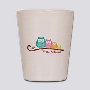Custom owl family name Shot Glass