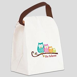 Custom owl family name Canvas Lunch Bag
