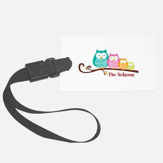 Custom owl family name Luggage Tag