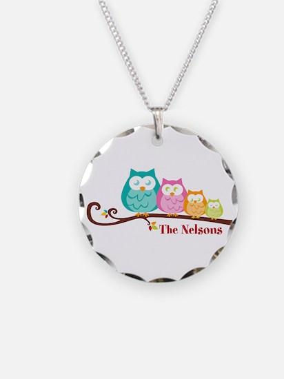 Custom owl family name Necklace