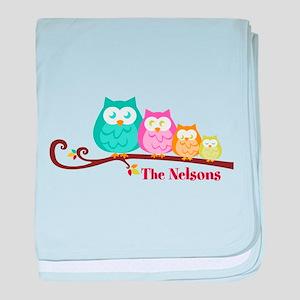 Custom owl family name baby blanket