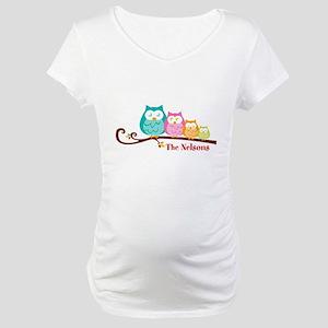 Custom owl family name Maternity T-Shirt