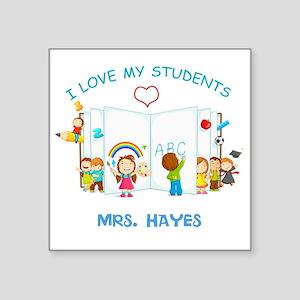 "Custom Teacher Square Sticker 3"" x 3"""