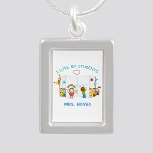 Custom Teacher Silver Portrait Necklace