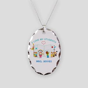 Custom Teacher Necklace Oval Charm