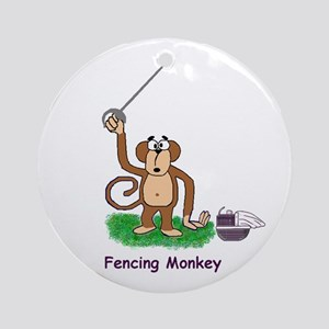 Fencing Monkey Ornament (Round)