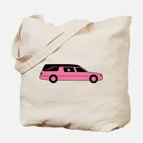 Pink And Black Hearse Tote Bag