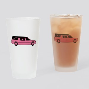 Pink And Black Hearse Drinking Glass