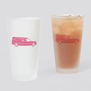 Cute Pink Hearse Drinking Glass