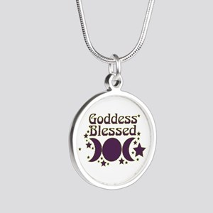 Goddess Blessed Silver Round Necklace