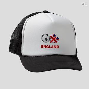 SOCCER-peace-love-england Kids Trucker hat