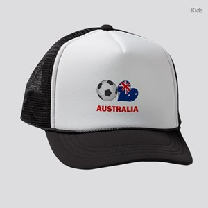 SOCCER-peace-love-australia Kids Trucker hat