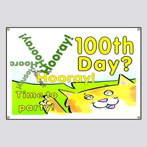 100th Day Party Cat Banner