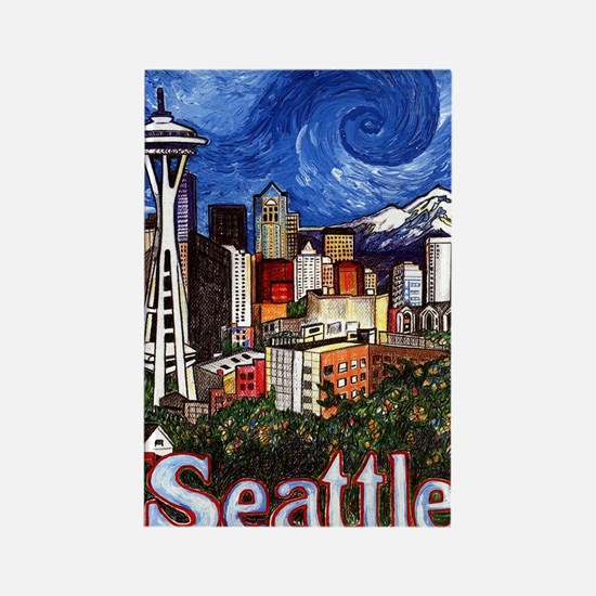 Seattle Skyline Rectangle Magnet