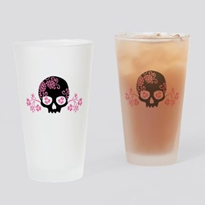 Skull With Pink Blossoms Drinking Glass