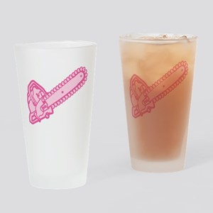 Pink Chainsaw Of Love Drinking Glass
