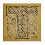 Celtic Letter T Tile Coaster