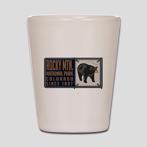 Rocky Mountain Black Bear Badge Shot Glass