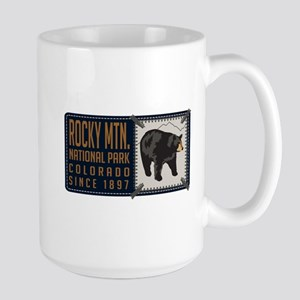 Rocky Mountain Black Bear Badge Large Mug
