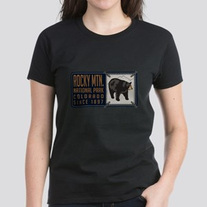Rocky Mountain Black Bear Badge Women's Dark T-Shi