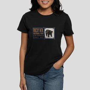 Rocky Mountain Black Bear Badge Women's Dark T-Shi