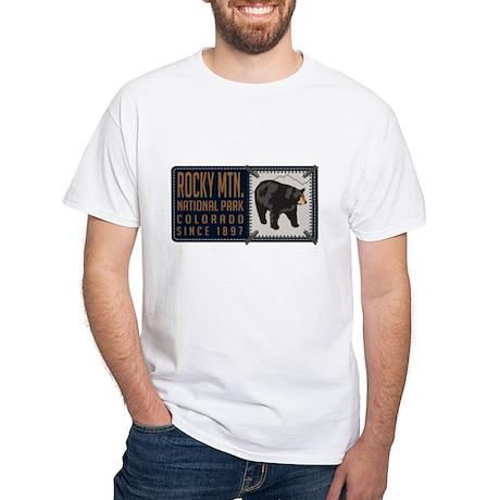 Rocky Mountain Black Bear Badge White T-Shirt