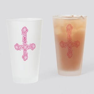 Pink Inverted Cross Drinking Glass