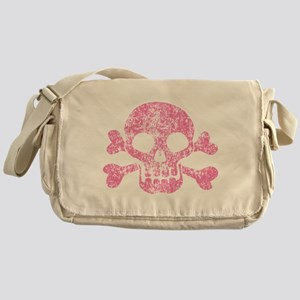 Worn Pink Skull And Crossbones Messenger Bag