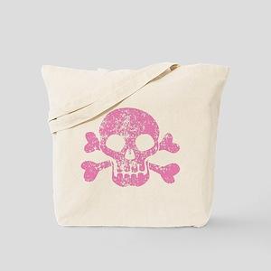 Worn Pink Skull And Crossbones Tote Bag