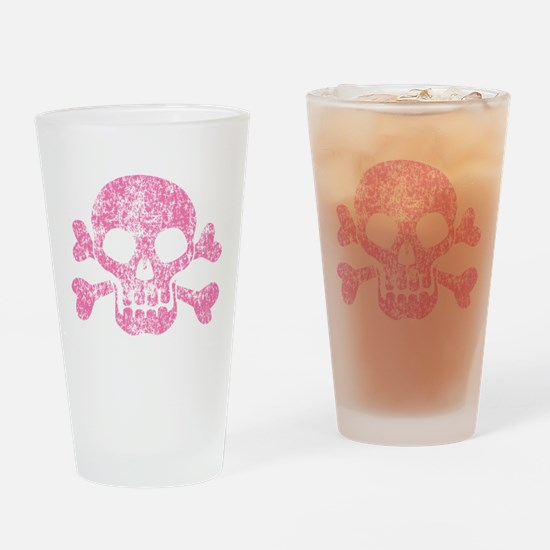 Worn Pink Skull And Crossbones Drinking Glass