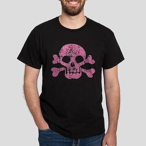 Worn Pink Skull And Crossbones Dark T-Shirt