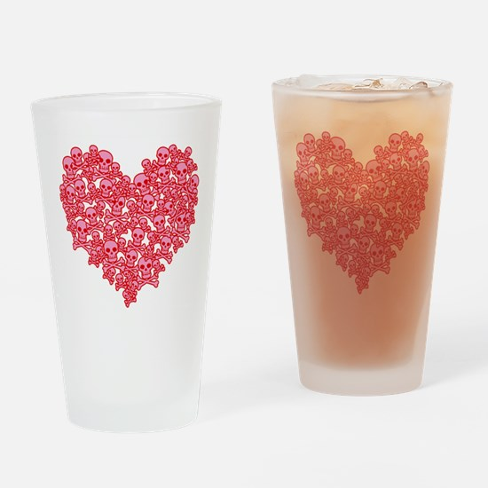 Pink Red Skull Heart Drinking Glass