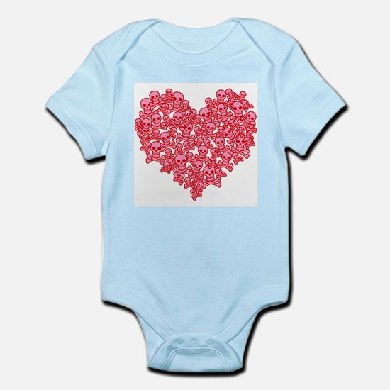 Pink Red Skull Heart Infant Bodysuit