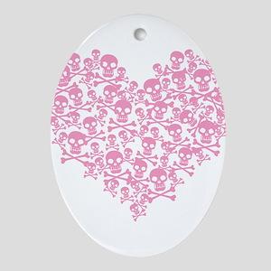 Pink Skull Heart Ornament (Oval)
