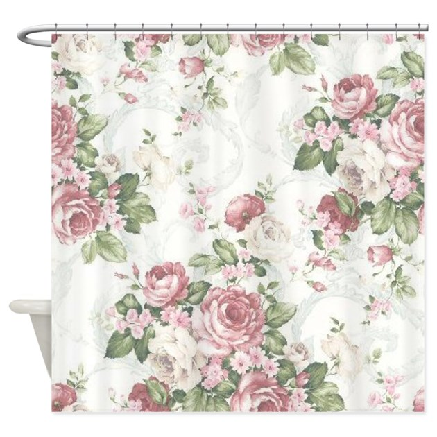 vintage flowers shower curtain by cheriverymery 87973