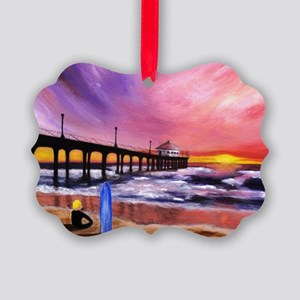 Manhattan Beach Pier Picture Ornament