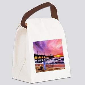 Manhattan Beach Pier Canvas Lunch Bag