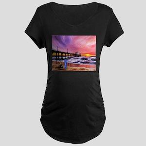 Manhattan Beach Pier Maternity Dark T-Shirt