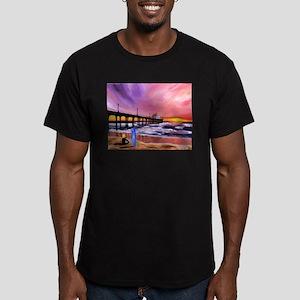 Manhattan Beach Pier Men's Fitted T-Shirt (dark)