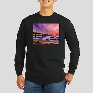 Manhattan Beach Pier Long Sleeve Dark T-Shirt