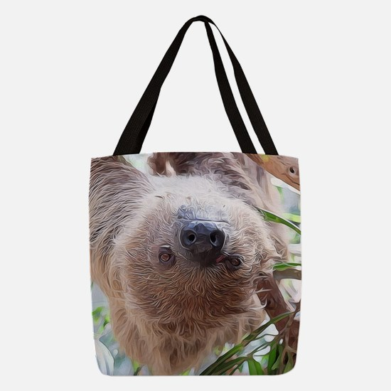 cute sloth in the tree Polyester Tote Bag