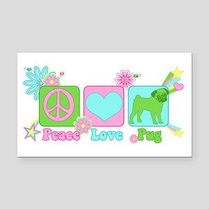 Peace Love Pug Rectangle Car Magnet
