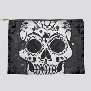 Black and white skull Makeup Pouch