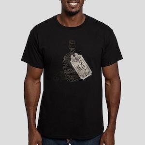 Drink Me Bottle Worn Men's Fitted T-Shirt (dark)