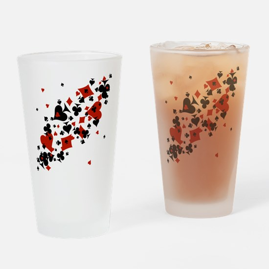 Scattered Card Suits Drinking Glass